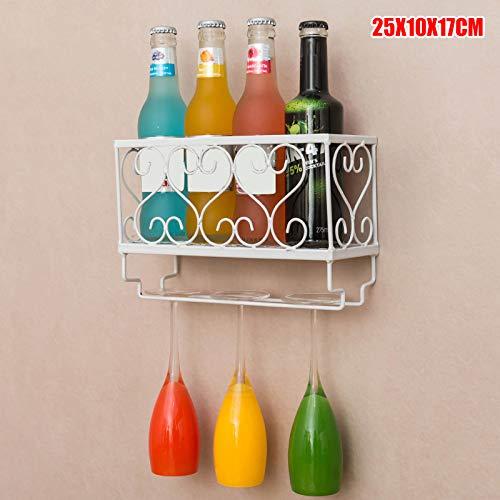 Wall Mounted Iron Wine Rack Bottle Champagne Glass Holder Shelves Bar Bottle Glass Holder for Home Party