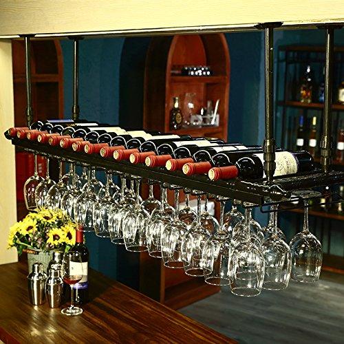 WGX Wine Bar Wall Rack 60Hanging Bar Glass Rack&Hanging Bottle Holder Adjustable Black