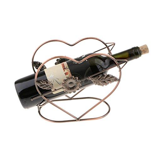 FLAMEER Wine Racks Countertop Heart Shaped Wine Rack Metal Wire Wine Bottle Holder for WeddingBar Kitchen Cabinet  Free Standing Wine Rack Bronze