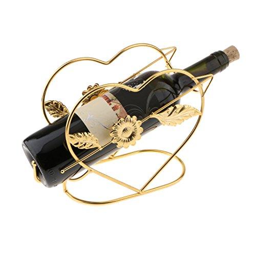 FLAMEER Wine Racks Countertop Heart Shaped Wine Rack Metal Wire Wine Bottle Holder for WeddingBar Kitchen Cabinet  Free Standing Wine Rack Gold