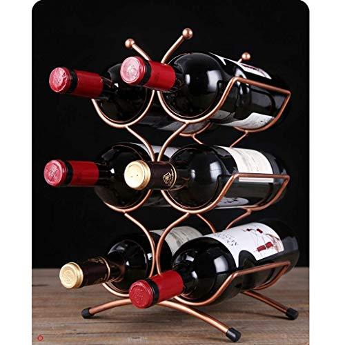LEOO Metal Wire Wine Rack and Water Bottle Storage Organizer Holder - for Kitchen Countertops Pantry Fridge - Capacity 6 Bottles