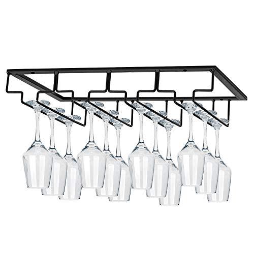 MOCOUM Wine Glasses Rack Under Cabinet Stemware RackWine Glass Hanger Rack Wire Wine Glass Holder Storage Hanger for Cabinet Kitchen Bar 4 Rows