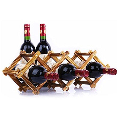 EtechMart Countertop Stackable Wine Rack Free Standing Rustic Wood 5-Bottle