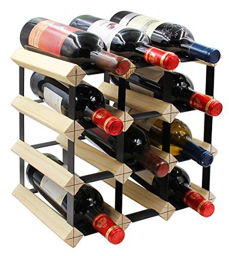 PAG 12-Bottle Wooden Wine Rack Stackable Storage Stand Bottles Holder   Display Shelf Natural