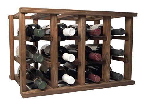 Stackable Wine Bottle Rack Unfinished Premium Redwood-12 Bottle