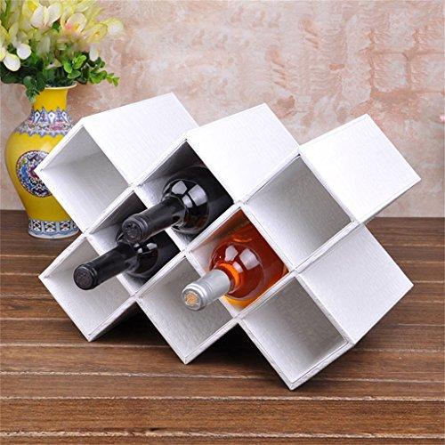 A-Fort Wine Rack 8 Bottle Wine Rack - Multi-Function Floor Wine Shelf Goblet Hanging Shelf Color  White