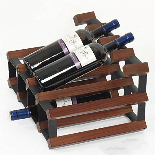 Free Standing 8 Bottles Wine Rack Solid Wood Countertop Wine Bottle Storage HolderMulti-function Floor Wine Rack Home Living Room Decoration color  Antique color