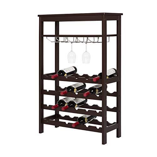 Kinsuite Wine Racks Countertop Free Standing Floor Storage Display Shelves with Glass Hanger Table Top