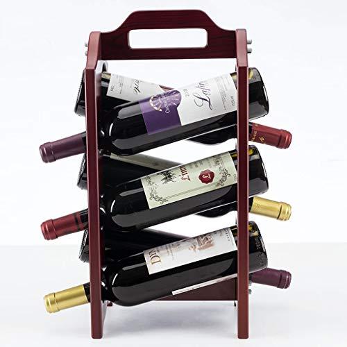 YBYB Wine Rack Wine Shelf Countertop Wine Rack Tabletop Wood Wine Holder for 6 Bottle Wine Home Decor Bar Wine Racks Free Standing Floor Gift Wine Holder Color  A