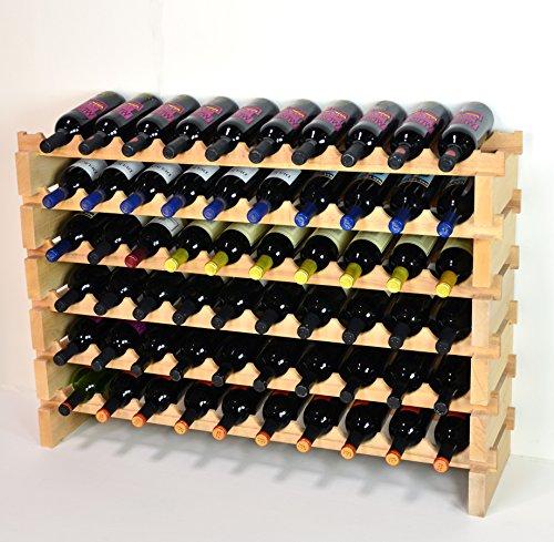 Modular Wine Rack Beechwood 40-120 Bottle Capacity 10 Bottles Across up to 12 Rows Newest Improved Model 60 Bottles - 6 Rows