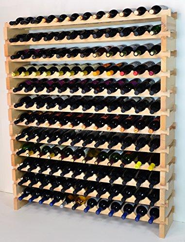 Modular Wine Rack Beechwood 48-144 Bottle Capacity 12 Bottles Across up to 12 Rows Newest Improved Model 144 Bottles - 12 Rows
