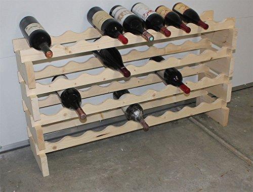 Stackable Modular Wine Rack Storage Stand Wooden Holder Shelves for Magnum Size Bottles WN50