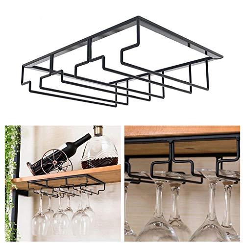 Atezch Wine Glass Rack-Under Cabinet Stemware Wine Glass Holder Metal Organizer Wine Glasses Storage Hanger for Bar Kitchen Black