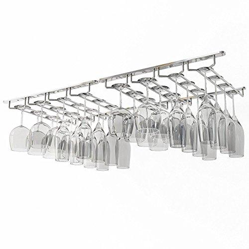 Wallniture Under Cabinet Stemware Rack - Wine Glass Storage Holder 17 Inch Set of 2 Chrome