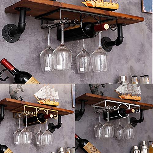 Wine Glass Rack Under Cabinet Stemware Wine Glass Hanger Holder Wall Mounted Hanging Metal Wine Botttle Glasses Storage Organizer for Home Bar Kitchen