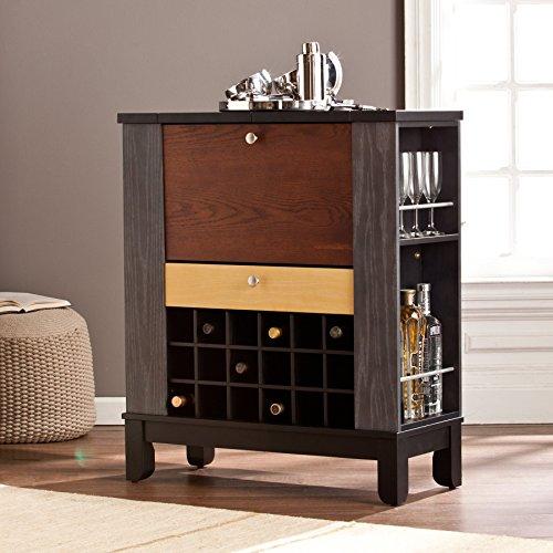 Ruby Colorblock Rubberwood WineBar Cabinet