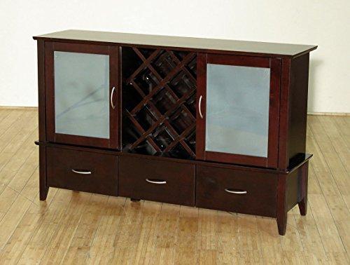 SALE Cappuccino Server Buffet Sideboard w Liquor Wine Bar Cabinet F-259