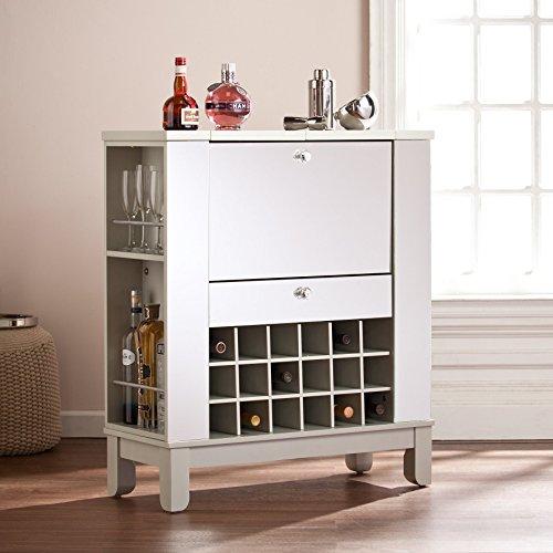 Zanna White Rubberwood Mirrored Fold-Out WineBar Cabinet