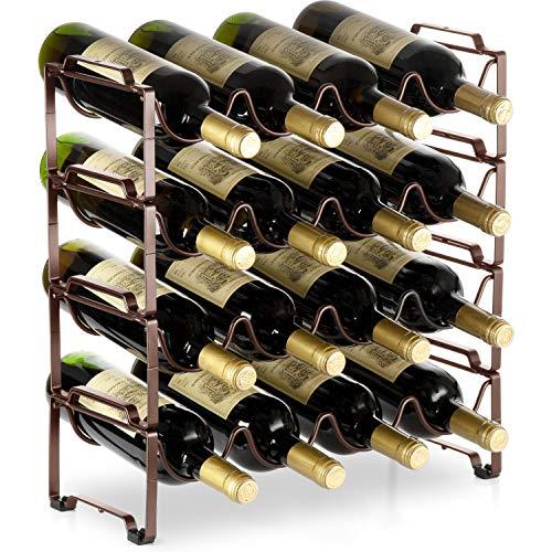 Bextsware 4 Tiers Stackable Metal Wine Rack 16 Bottles Freestanding Holder Organizer Storage for Kitchen Bar Pantry Wine Cellar Basement Countertop Cabinet - Bronze