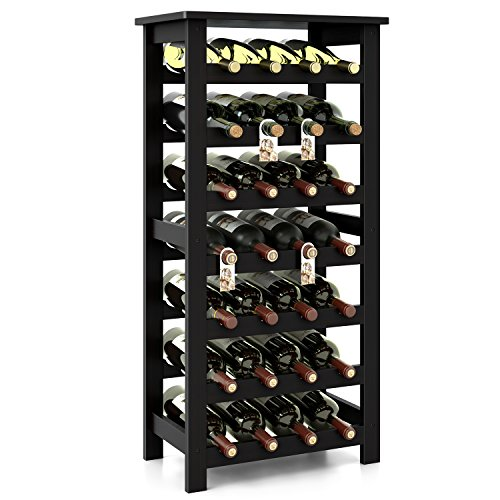 Homfa Bamboo Wine Rack 7 Tier Free Standing Wine Storage Rack Display Shelves 28 Bottles Capacity Storage Standing Table Wobble Free for Home Kitchen Dark Brown