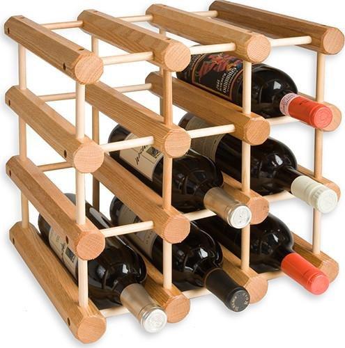 JK Adams Ash Wood 12-Bottle Wine Rack Natural
