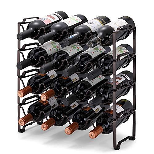 Simple Trending 4-Tier Stackable Wine Rack Standing Bottles Holder Organizer Wine Storage Shelf Towel Rack for Kitchen Pantry Cabinet Hold 16 Bottles Bronze