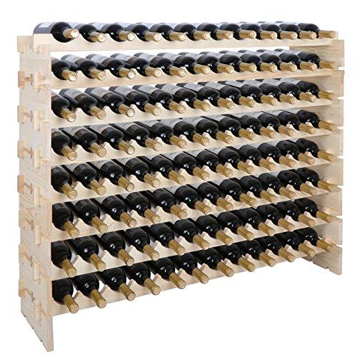 Smartxchoices 96 Bottle Stackable Modular Wine Rack Wooden Wine Storage Rack Free Standing Wine Holder Display Shelves Wobble-Free Solid Wood 8 Row 96 Bottle Capacity 96 Bottle