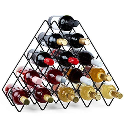 VonShef Bottle Wine Rack Black 15 Bottle Rack