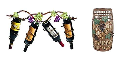 Grapevine 4 Bottle Wine Rack and Barrel Cork Holder Set of 2