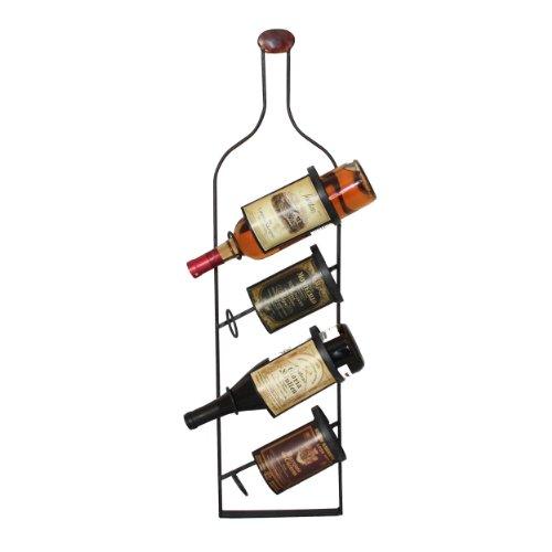 Urban Designs Metal Wall 4 Bottle Wine Rack Display
