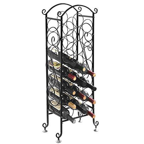MyGift Wine Bottle Storage Rack  Vintage Wine Holder Fits 21 Bottles Black
