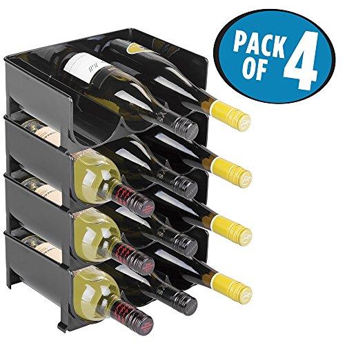 mDesign Stackable Wine Bottle Storage Rack for Kitchen Countertops Cabinet - Holds 12 Bottles Black