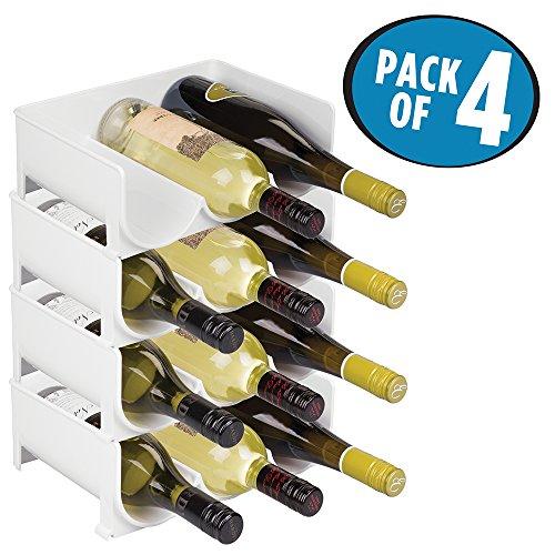 mDesign Stackable Wine Bottle Storage Rack for Kitchen Countertops Cabinet - Holds 12 Bottles White