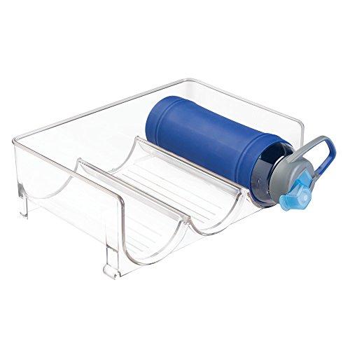 mDesign Stackable Wine Bottle Storage Rack for Kitchen Countertops Cabinet - Holds 3 Bottles Clear
