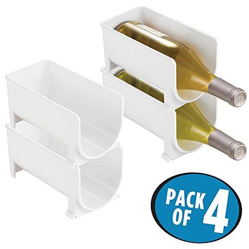 mDesign Stackable Wine Bottle Storage Rack for Kitchen Countertops Cabinet - Holds 4 Bottles White