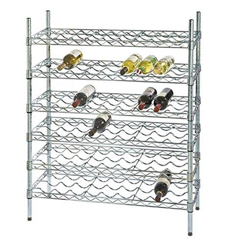 14 Deep x 36 Wide x 54 High 6 Chrome Shelf Single Wine Rack with 54 Bottle Storage Capacity