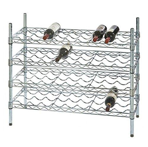 14 Deep x 48 Wide x 36 High 4 Chrome Shelf Single Wine Rack with 48 Bottle Storage Capacity