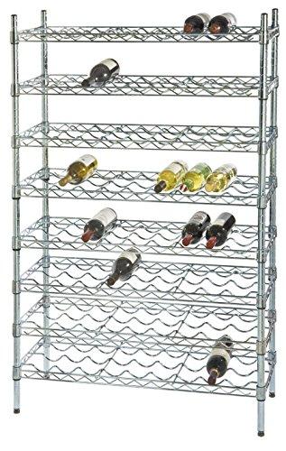 14 Deep x 48 Wide x 74 High 13 Chrome Shelf Single Wine Rack with 156 Bottle Storage Capacity