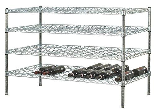 24 Deep x 48 Wide x 36 High 4 Chrome Shelf Double Wine Rack with 96 Bottle Storage Capacity