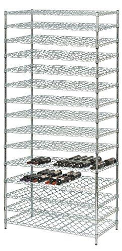 24 Deep x 48 Wide x 86 High 15 Chrome Shelf Double Wine Rack with 360 Bottle Storage Capacity
