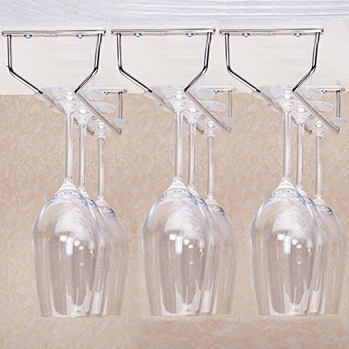Kaleep Under Cabinet Stemware Rackhold up to 9 Wine Glasses Rack Stainless Steel Wine Rack Glass Holder Hanging Hanger Chrome Stemware Holder for Bar Kitchen