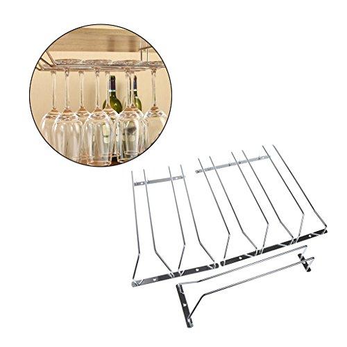 Onpiece Wine Glass Stainless Steel Rack Holder Under Cabinet Stemware Hanger Shelf Bar Triple Row