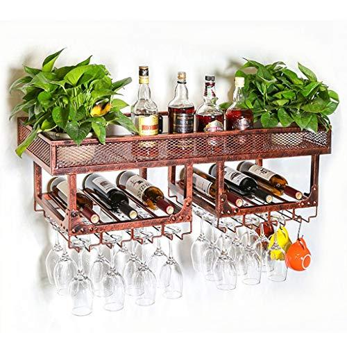 ZWJ J-Wine Racks Wine Bar Contemporary Wine Rack Wall Mounted Champagne Glass Goblets Stemware Rack Holder Stainless Steel Brown Size  L100cm