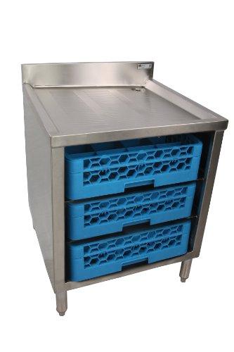 John Boos EUBGRS-24-3 Stainless Steel Underbar Glass Rack Storage Cabinet 24 Length x 21 Width 3 Glass Rack Capacity