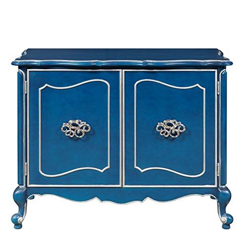 Pulaski P017121 Classic Blue Wine Bar Storage Cabinet with Silver Trim
