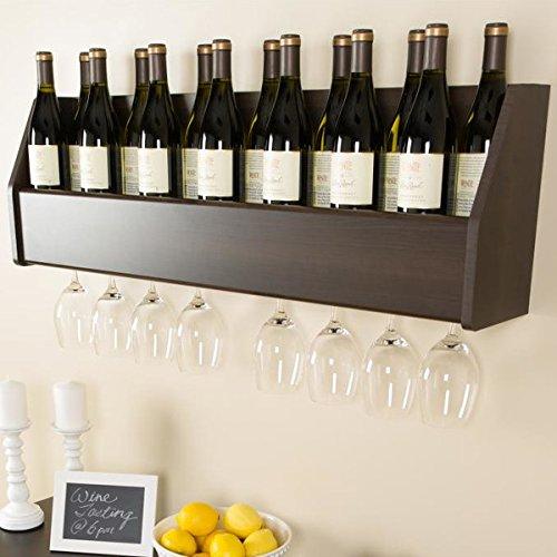 Floating 18 Bottle Glass Holder Wall Mounted Wooden Wine Rack Bar Liquor Storage Cabinet