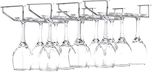 FOMANSH Wine Glass Rack - Under Cabinet Stemware Rack Glasses Storage Holder Metal Organizer for Bar Kitchen 4 Rows