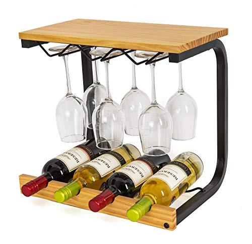 SODUKU Wine Rack Wall Mounted Handmade Metal Wood Wine Countertop Rack Wine Storage Shelf with 4 Bottle Cages 6 Long Stem Glass Light Brown