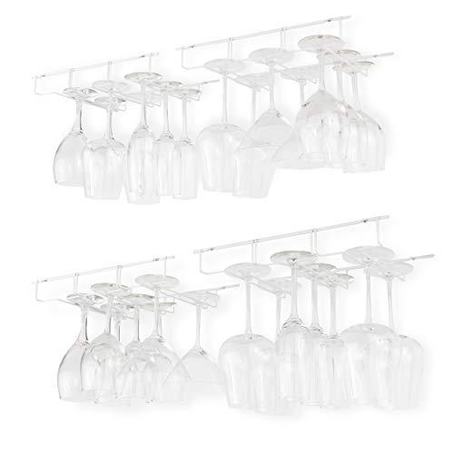 Wallniture Napa Stemware Rack Under Cabinet Wine Glass Holder Kitchen Bar Storage 3 Sectional White Set of 4