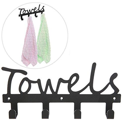 Black Metal TOWELS Design Wall Mounted Kitchen  Bathroom Storage Organizer Rack w 4 Hooks - MyGiftÂ